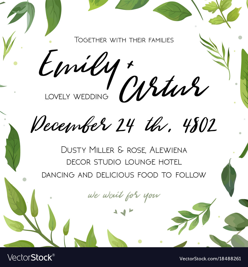 Wedding invitation floral invite card green design vector image