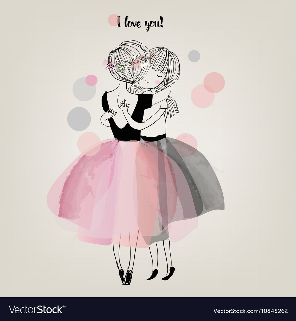 Cute girls embrace vector image