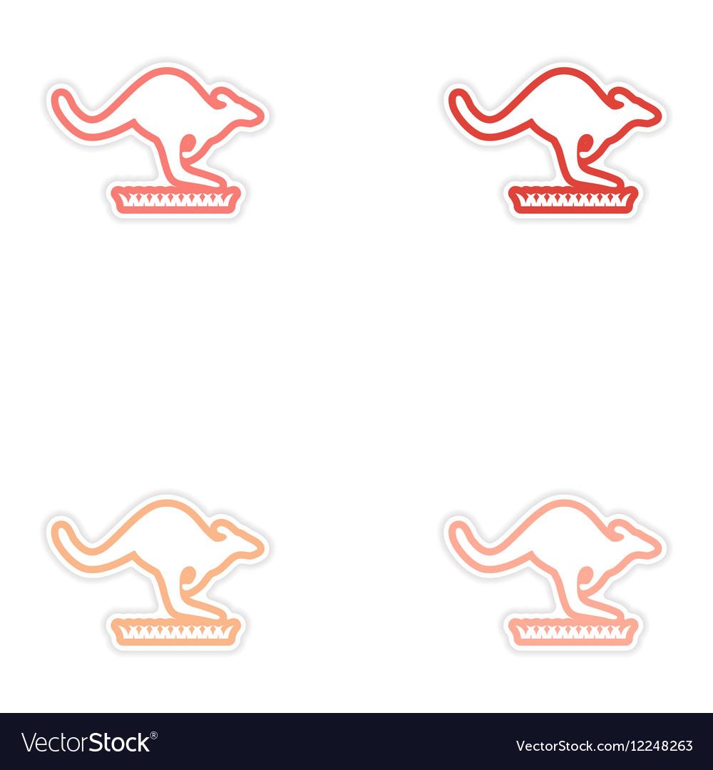 Set of stickers Australian kangaroo on white