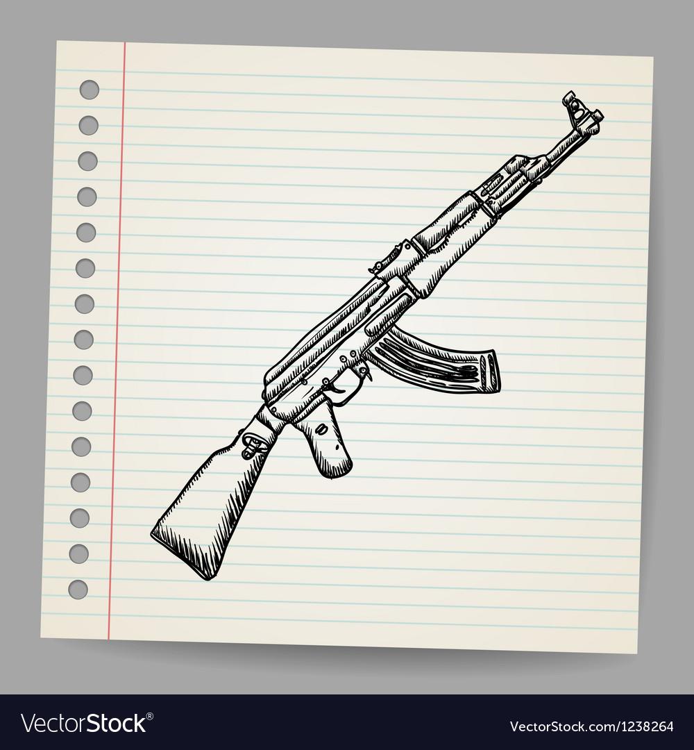 Assault rifle ak47 Doodle style vector image