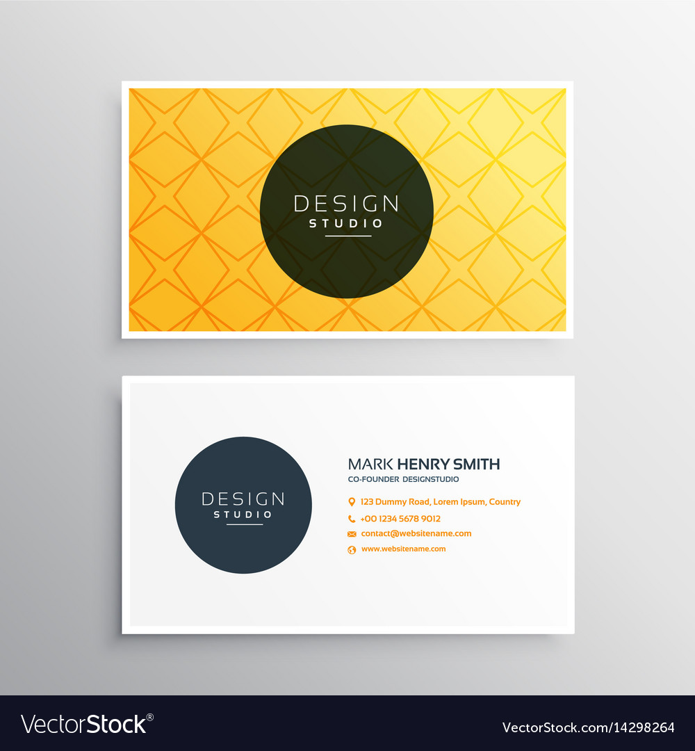 business card template in yellow pattern color vector image