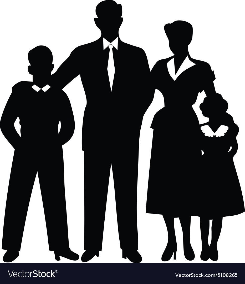 Family silhouette together cuddled vector image