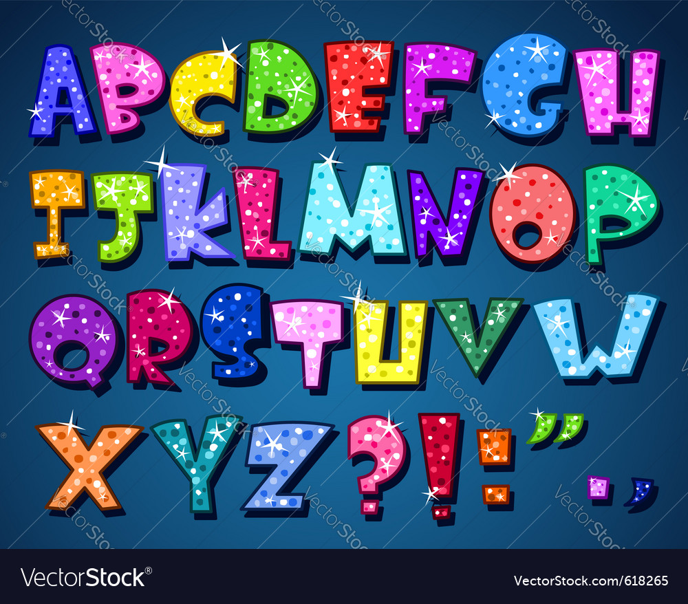 Sparkling alphabet vector image