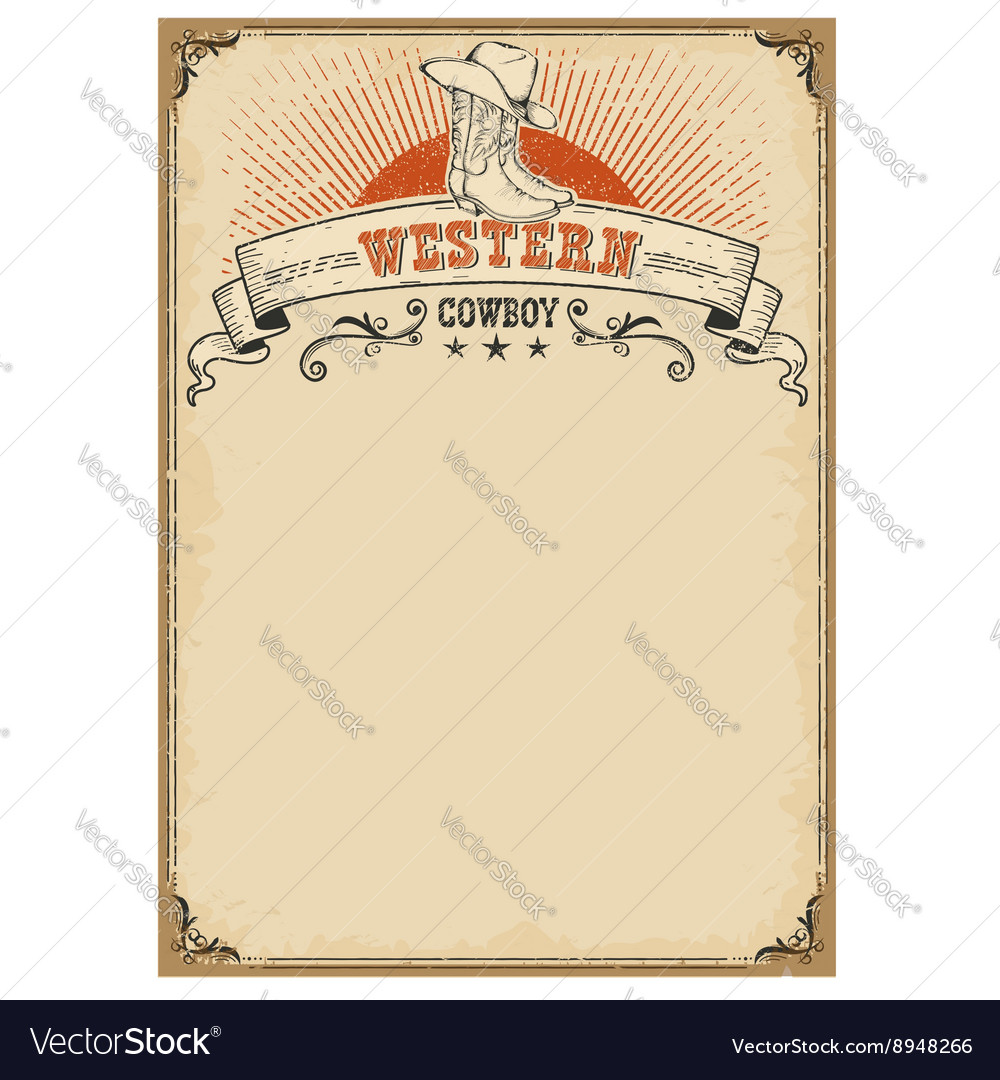 American western background with boots and cowboy vector image
