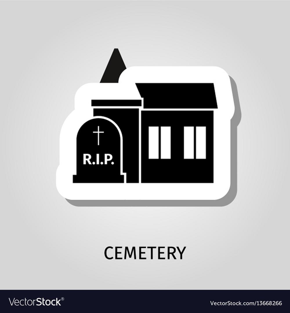 Cemetery black building sticker vector image