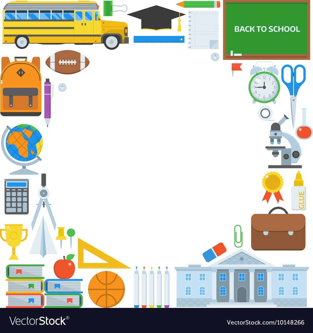 Education Supplies Background vector image