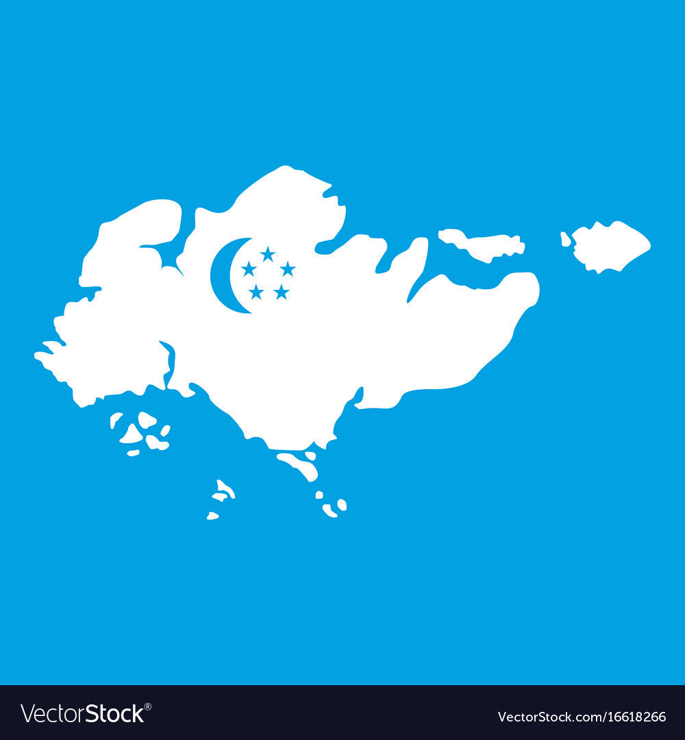Map of singapore with flag icon white Royalty Free Vector