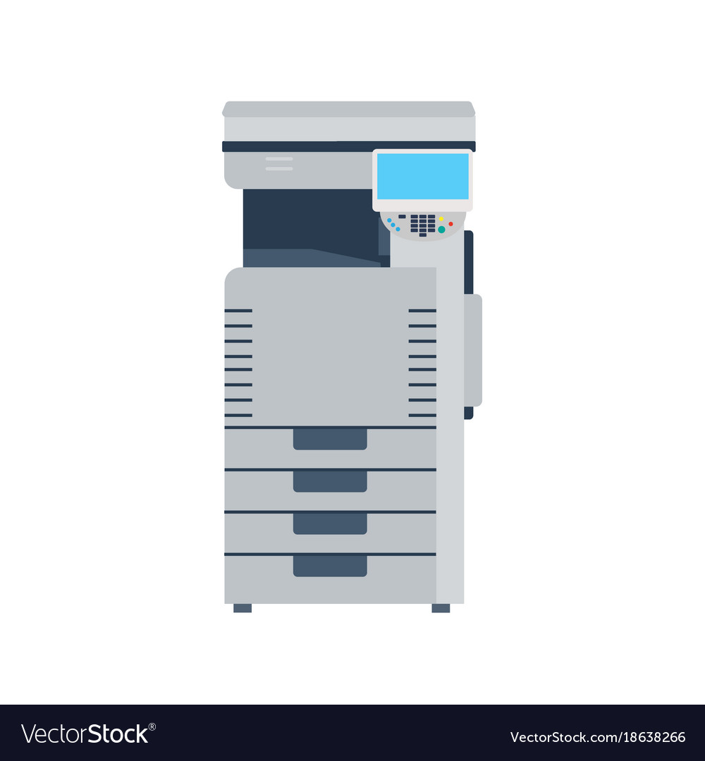 Printer machine photocopier copy office photocopy vector image