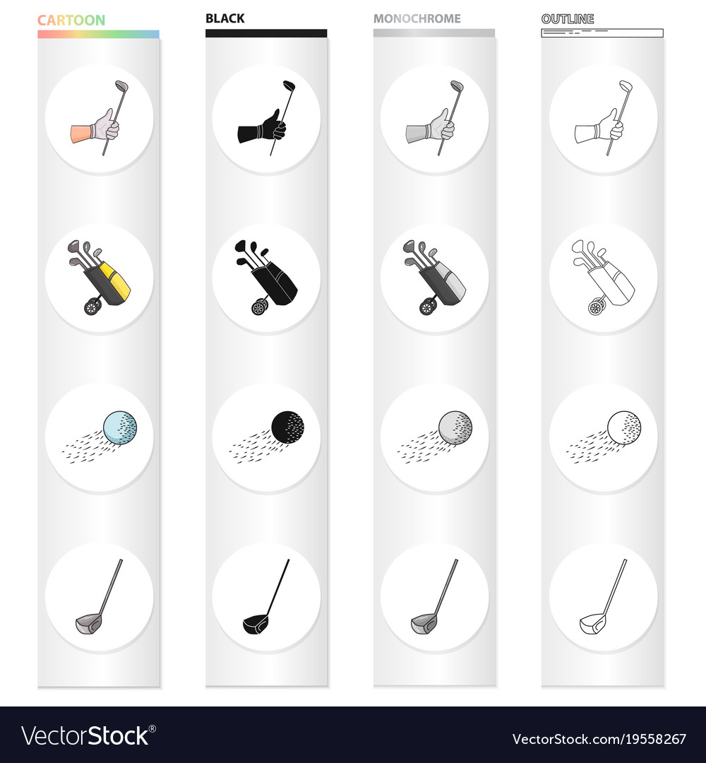 Golf stick in hand putter in bag ball in flight vector image
