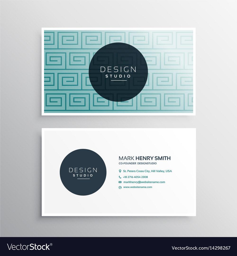 Modern Business Card Template With Blue Pattern Vector Image - Modern business card template