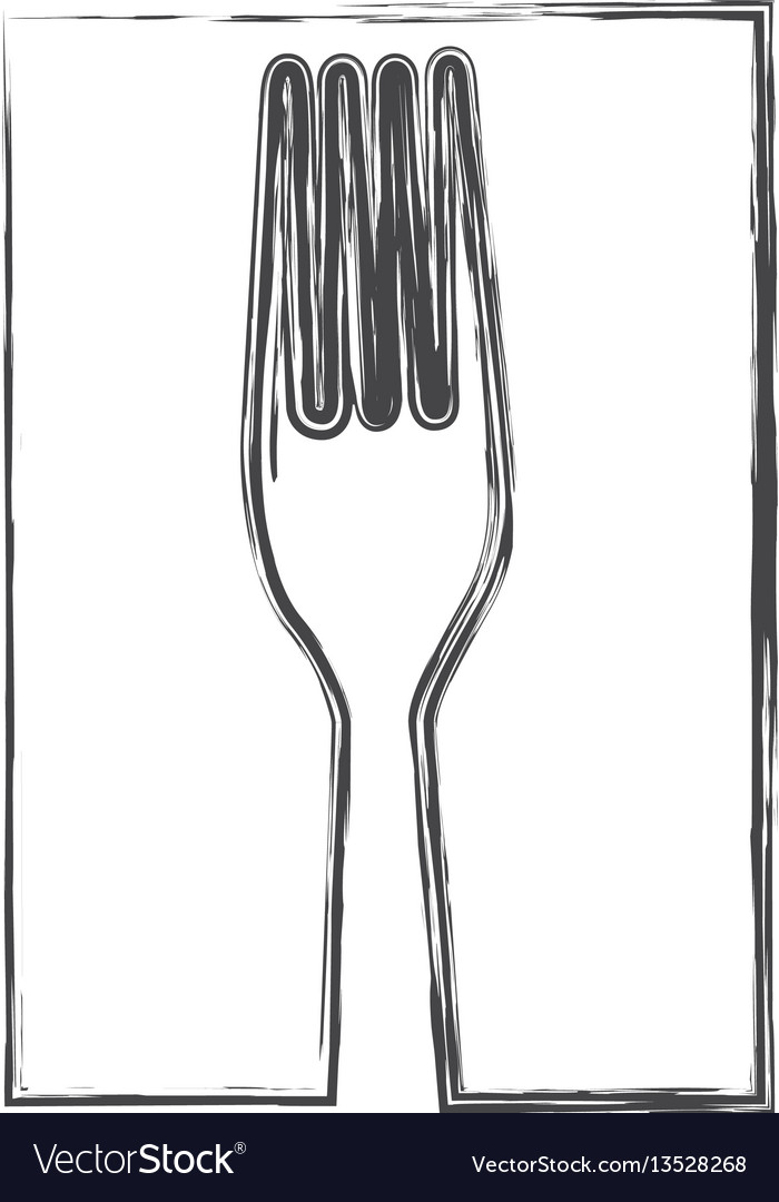 Contour fork cutlery icon vector image