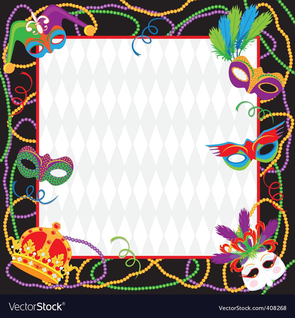Mardi gras party invitation vector image