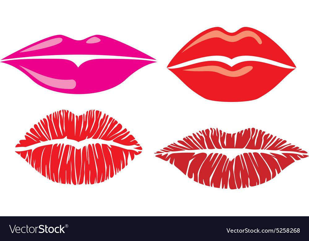 Set of kiss lips vector image
