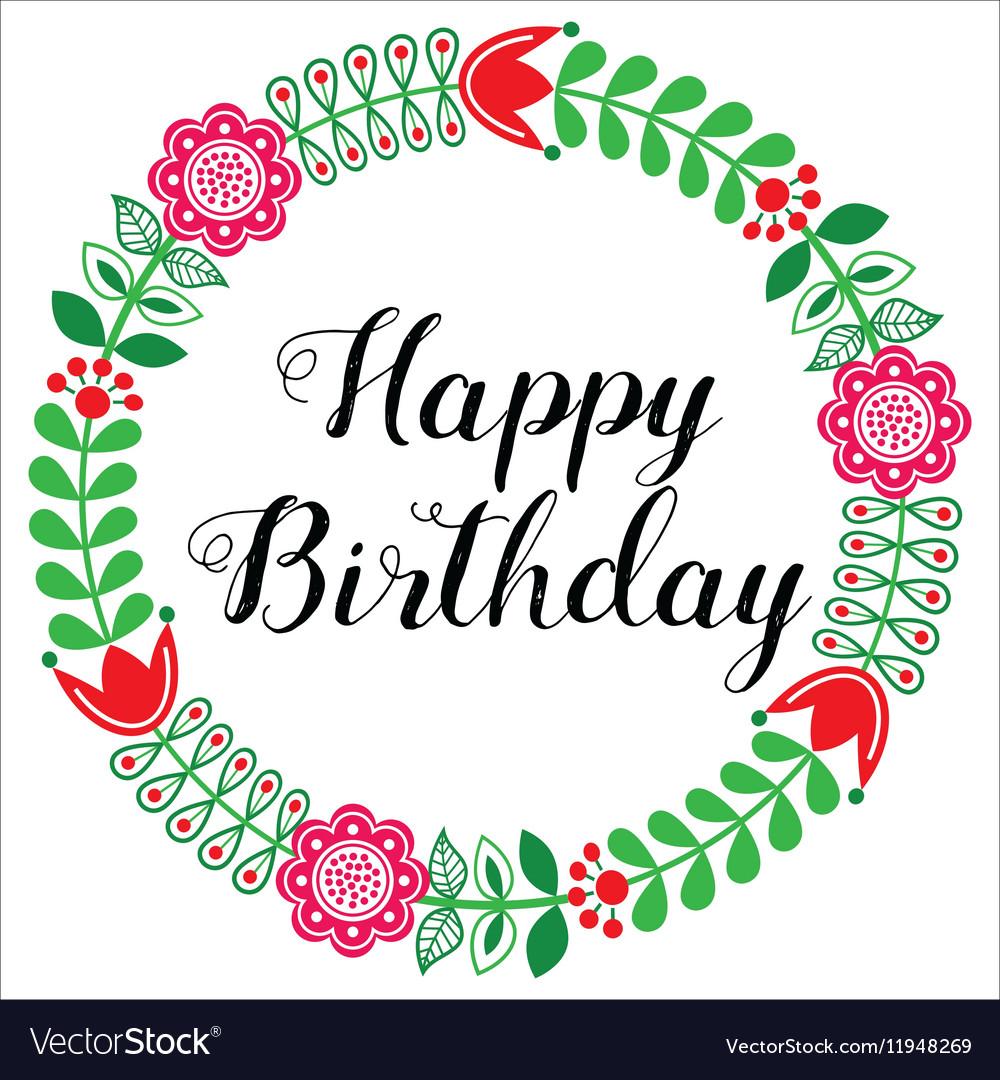 Happy birthday greetings card scandinavian folk vector image bookmarktalkfo Images