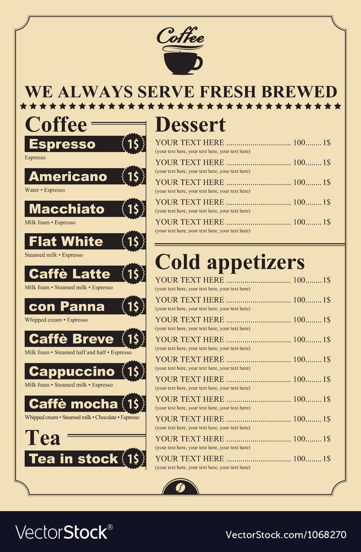 Dessert price Vector Image