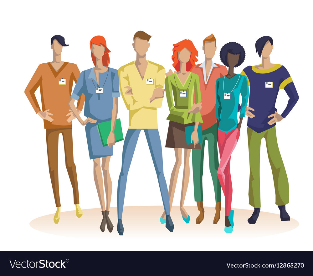 Colorful Office Team Concept vector image