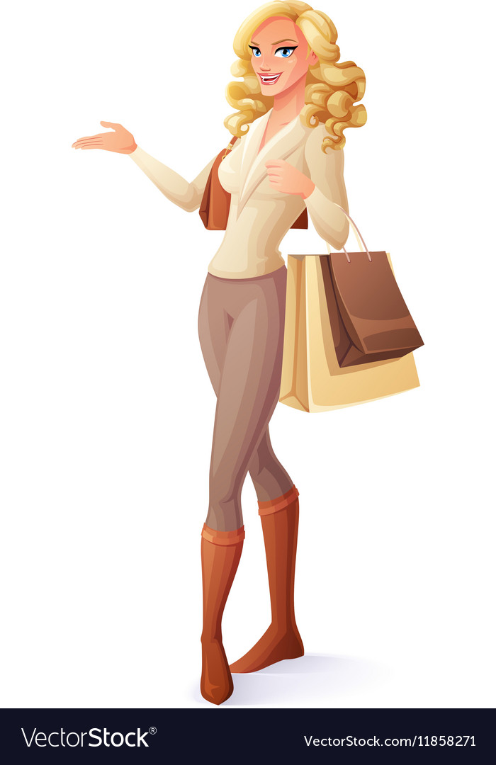 Beautiful lady standing with shopping bags and vector image