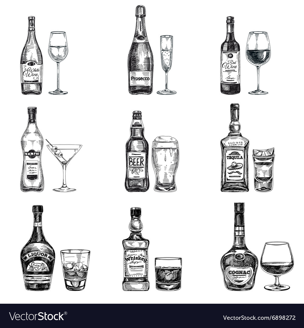 Hand drawn with alcoholic vector image