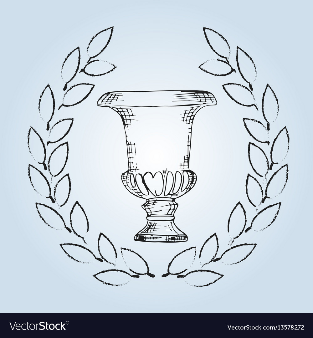 Pottery hand drawing porcelain ancient amphora vector image