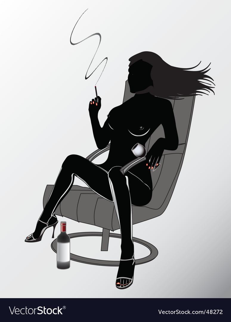Sexy woman smoking vector image