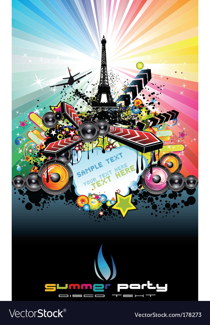 Paris disco event background vector image