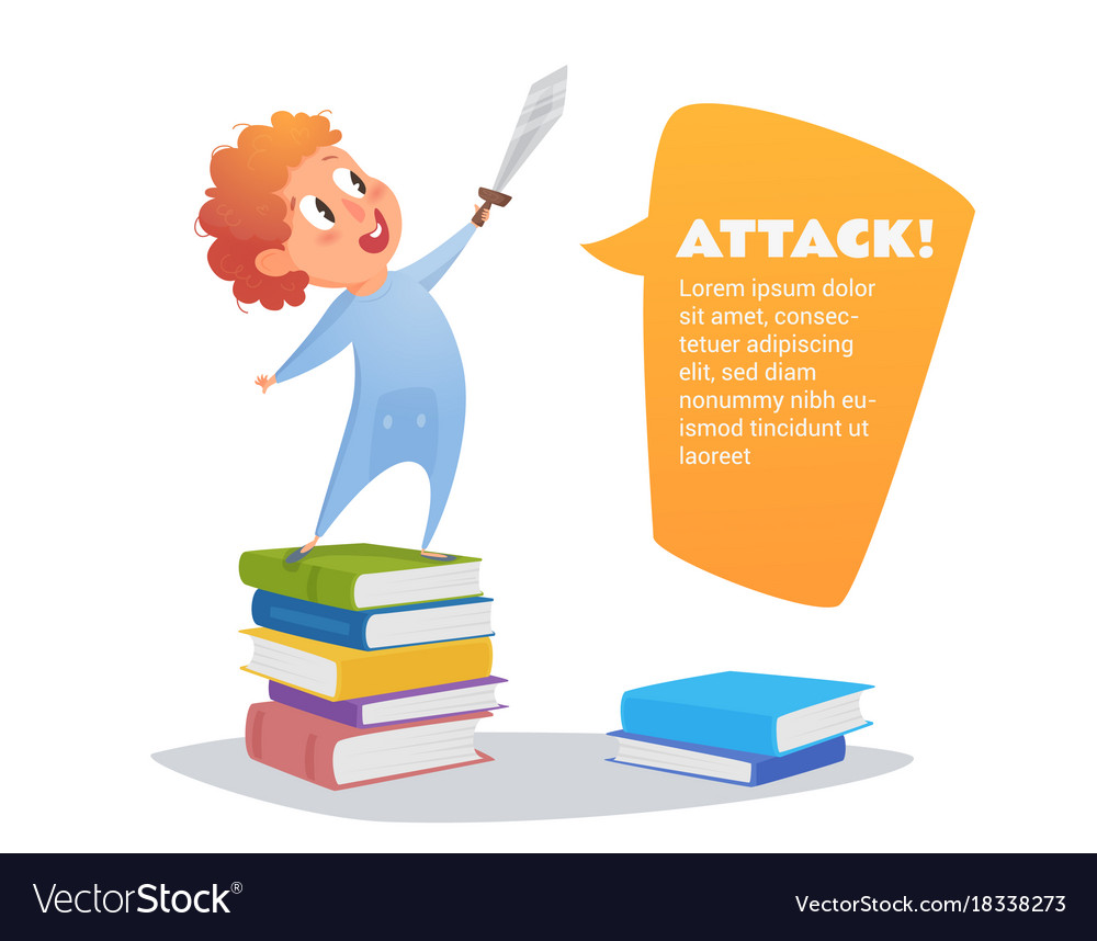 Little boy is playing with a sword vector image