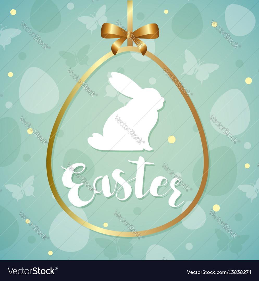 Green easter greeting card vector image