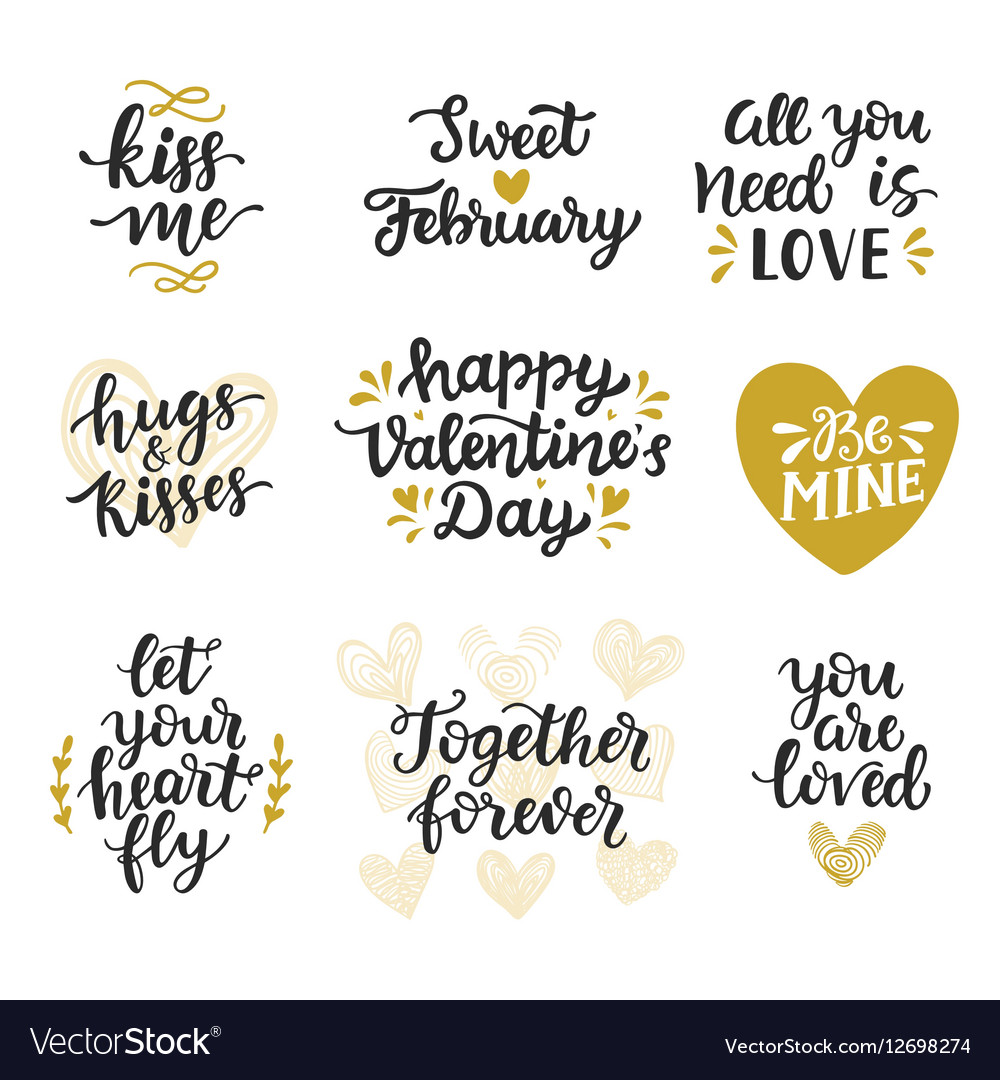 Love hand drawn quotes collection vector image