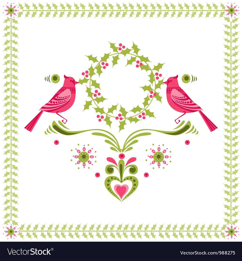 Christmas Card - Birds with Christmas Wreath vector image