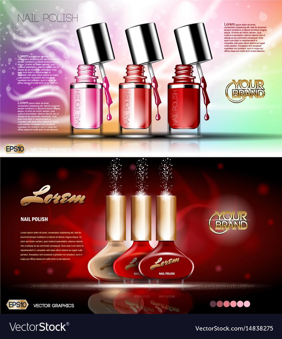 Digital transparent nail polish set vector image
