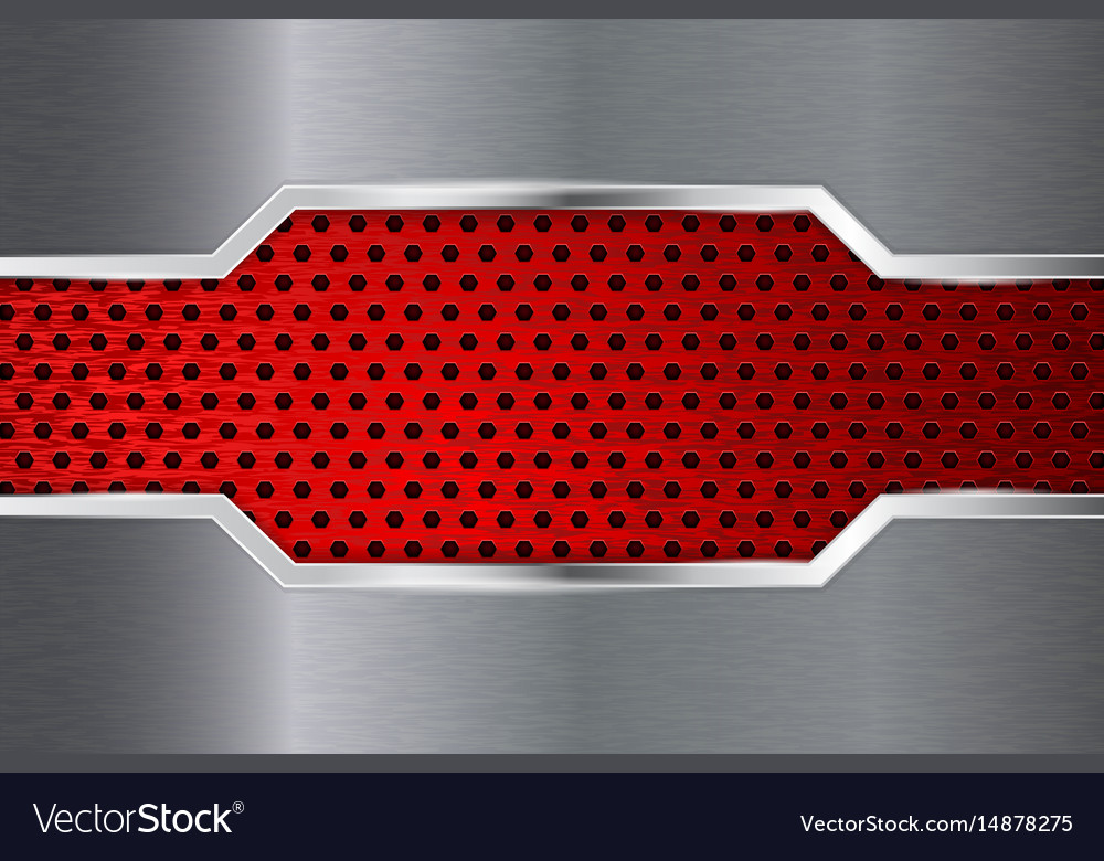 Metal background with red perforation plate vector image