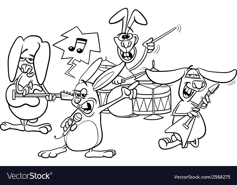 Rabbits rock music band coloring page royalty free vector for Rock band coloring pages
