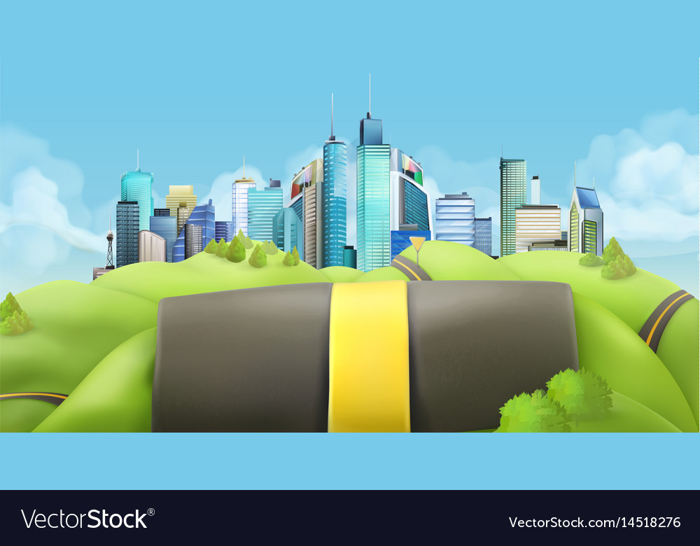 City and road landscape vector image
