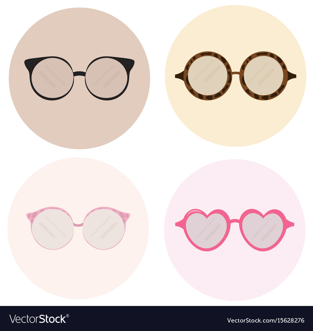 Eye glasses icons set advertising templates vector image
