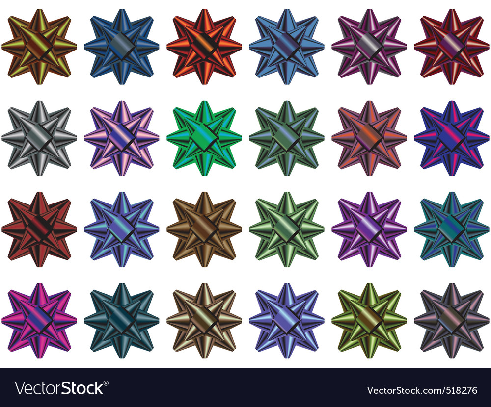 Gift bow multi colored selection vector image