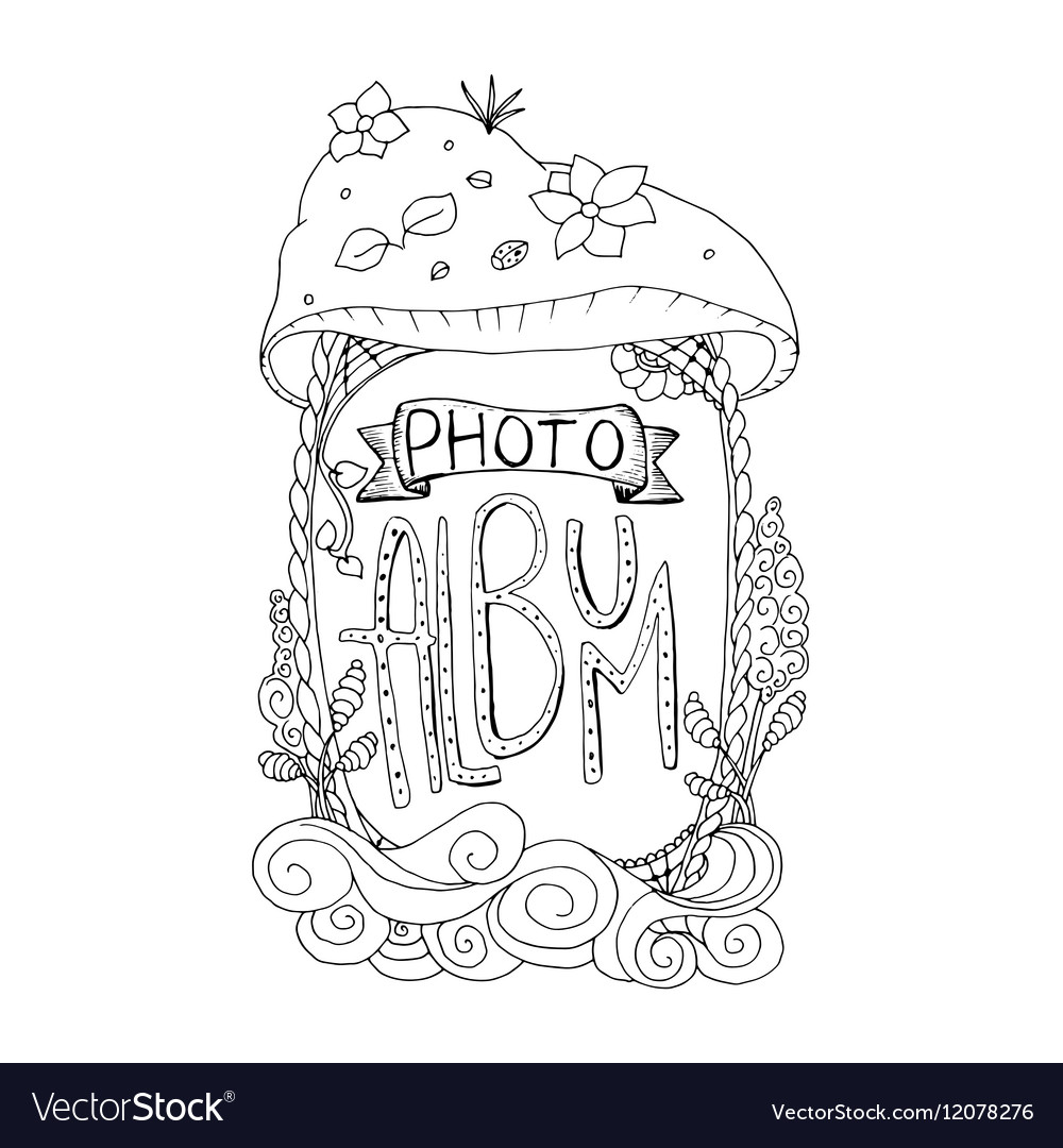 Photo album cover design in coloring book page vector image Coloring book album cover