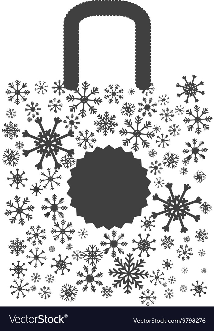 Shopping bag icon Merry Christmas design vector image