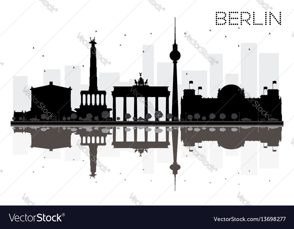 Berlin city skyline black and white silhouette vector image