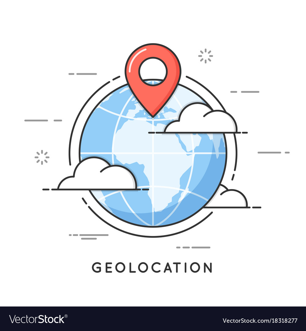 Geolocation thin line concept vector image