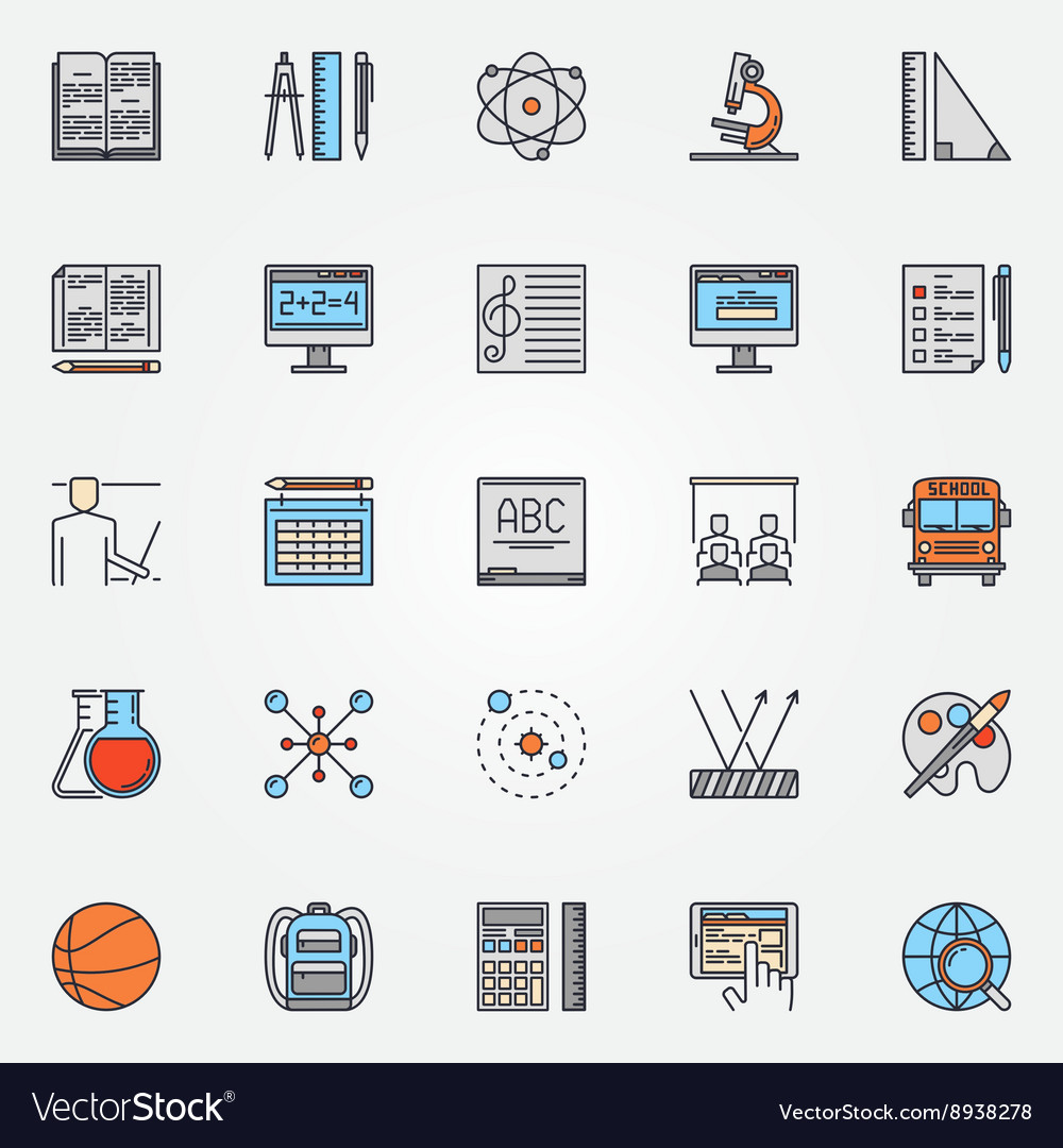 School icons colorful set vector image