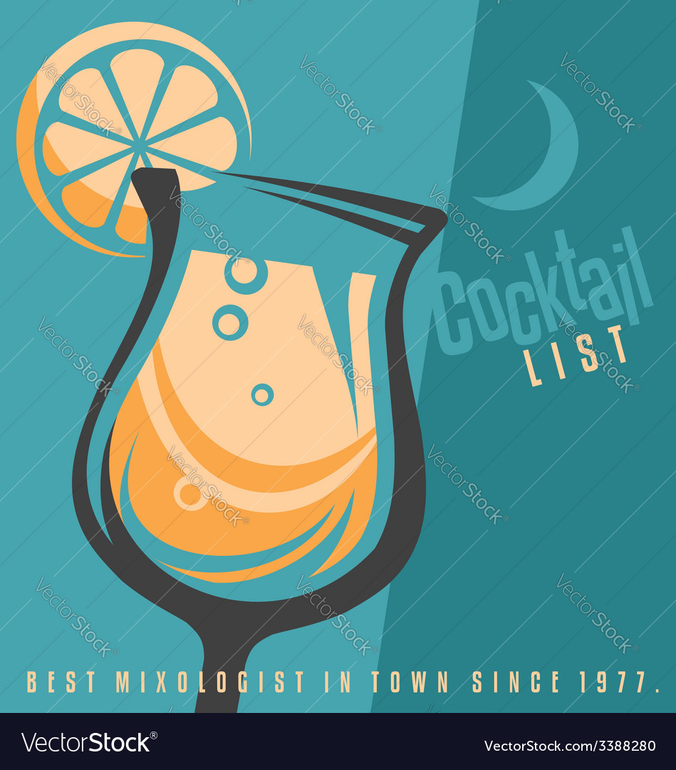 Cocktail list cover document template Royalty Free Vector