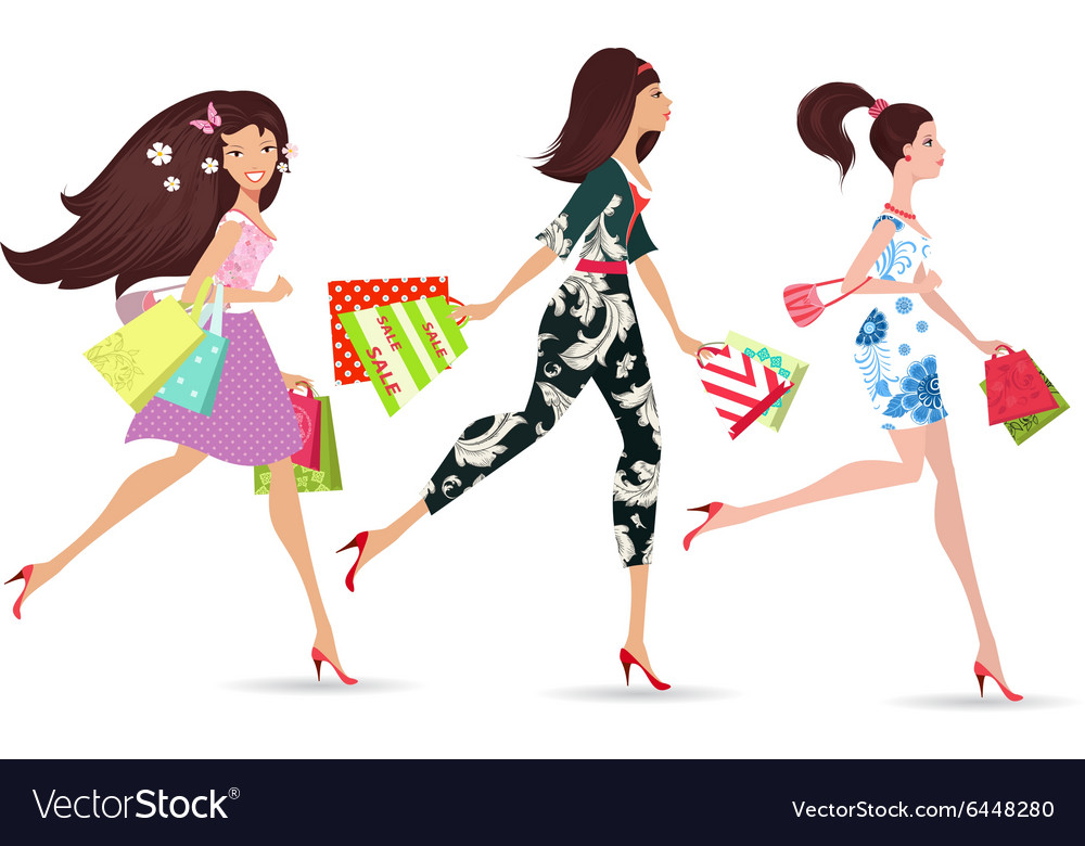 Fashion ladies walking with shopping vector image