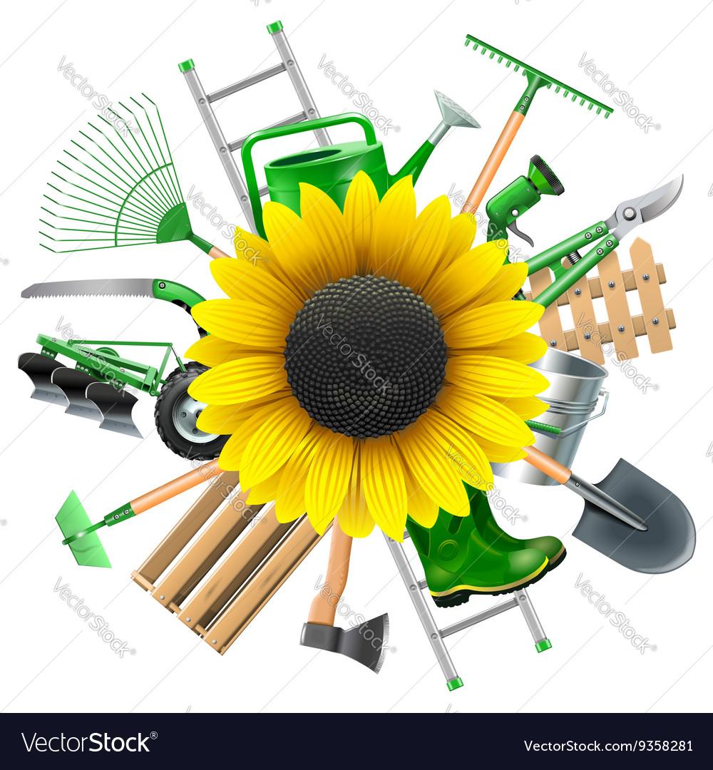 Garden Equipment with Sunflower vector image