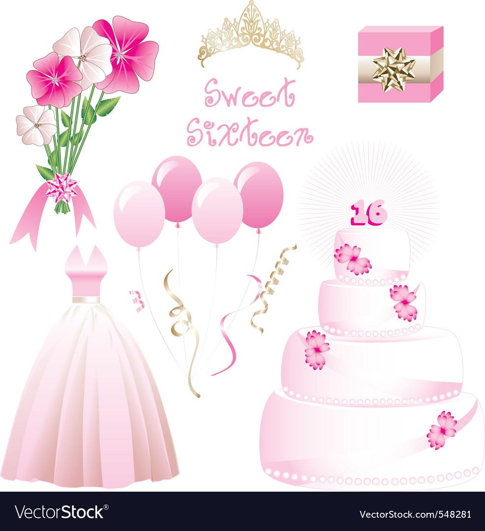 Sweet sixteen vector image