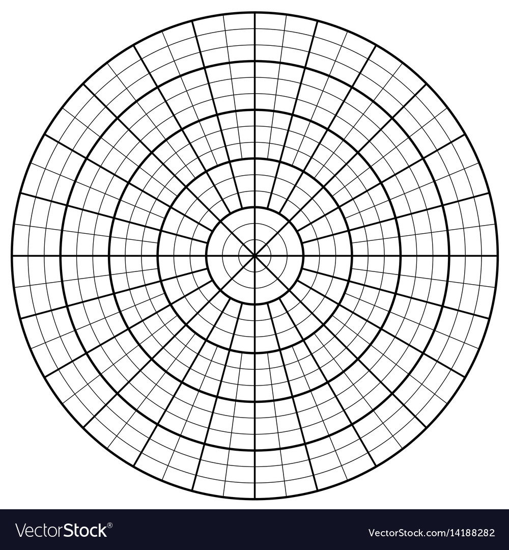 Blank polar graph paper - protractor - pie chart Vector Image
