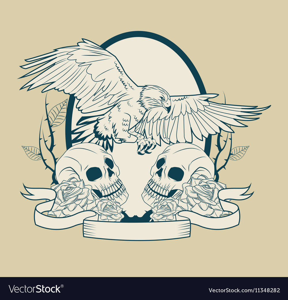 Skull and eagle tattoo art design vector image