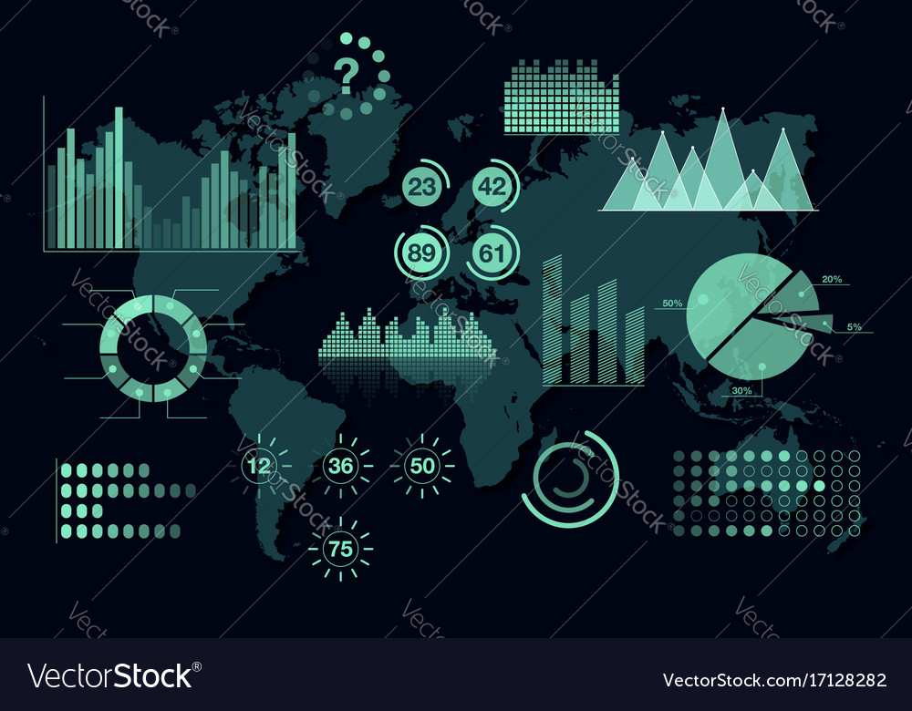 World analytics infographic set of transparent vector image