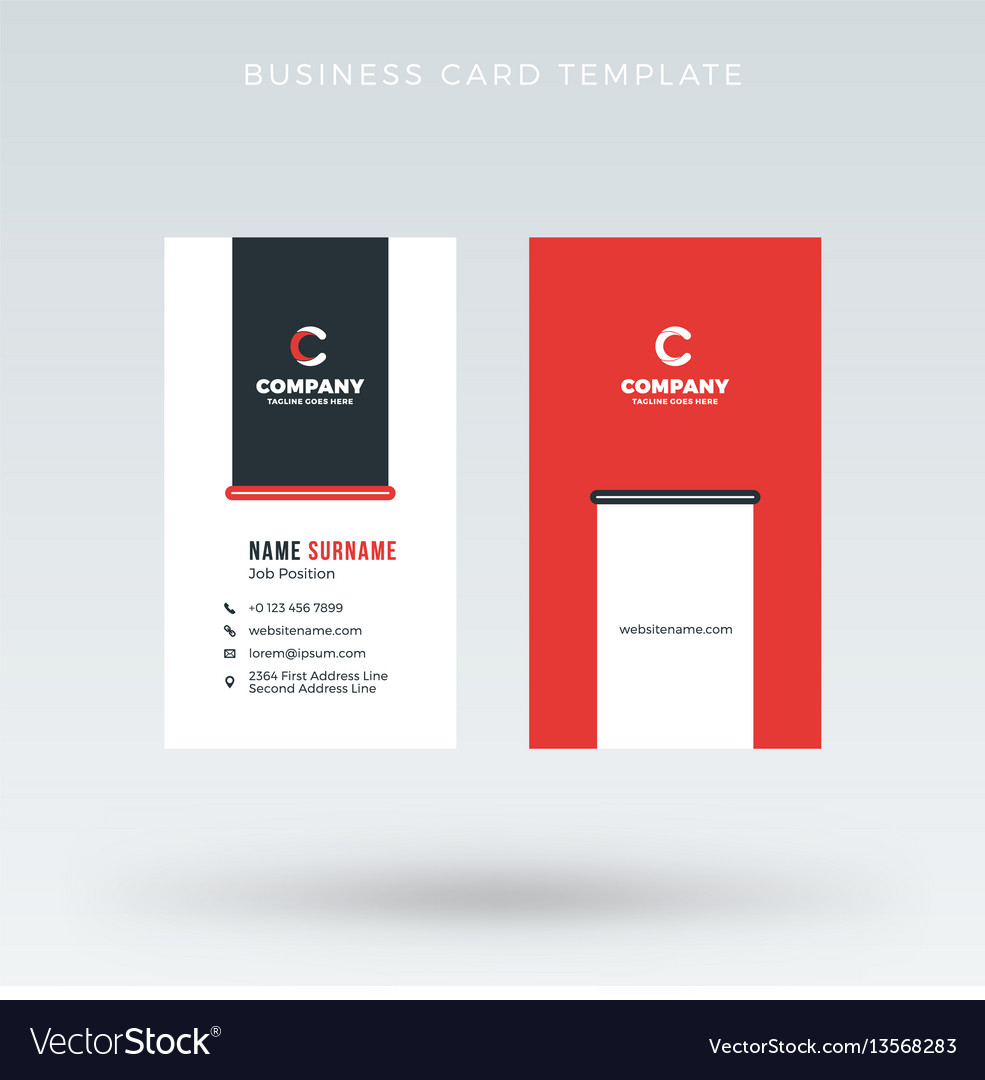 Modern creative vertical red business card vector image colourmoves Images