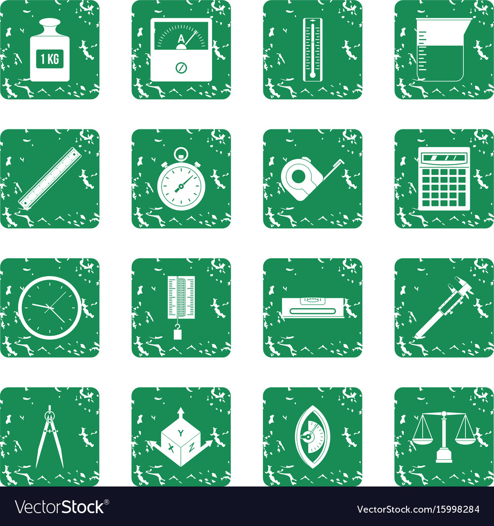 Measure precision icons set grunge vector image