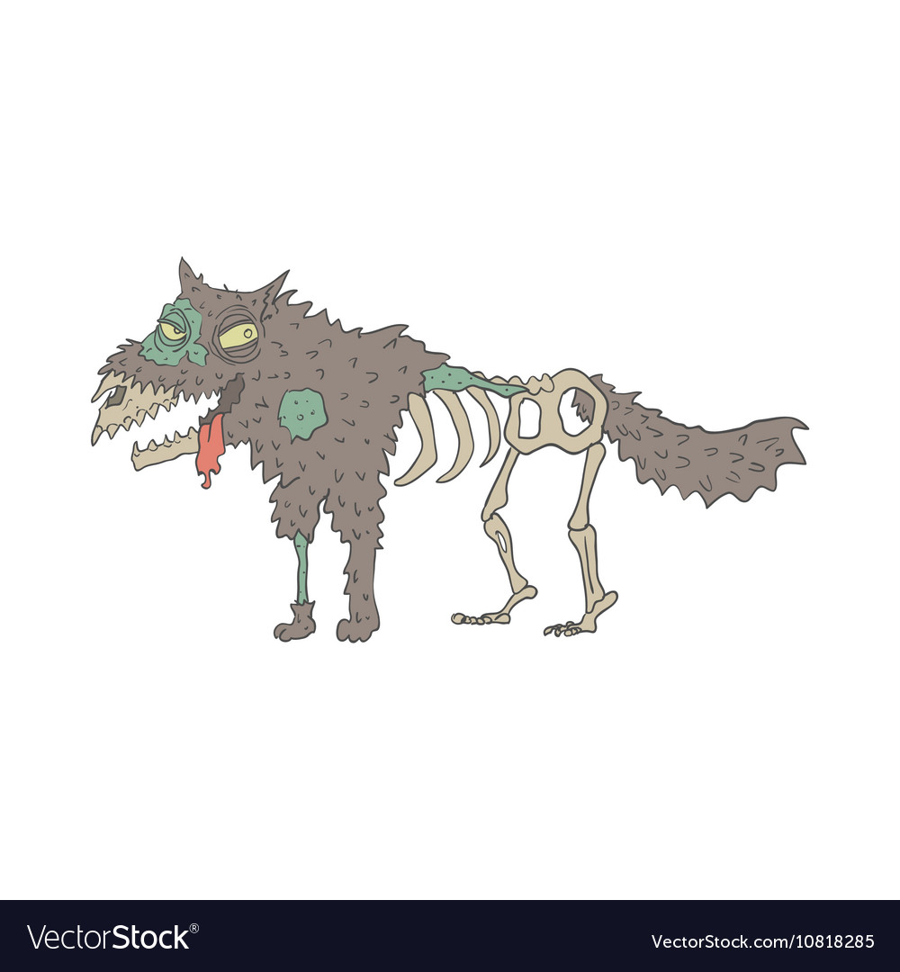 Dog Creepy Zombie Outlined Drawing vector image